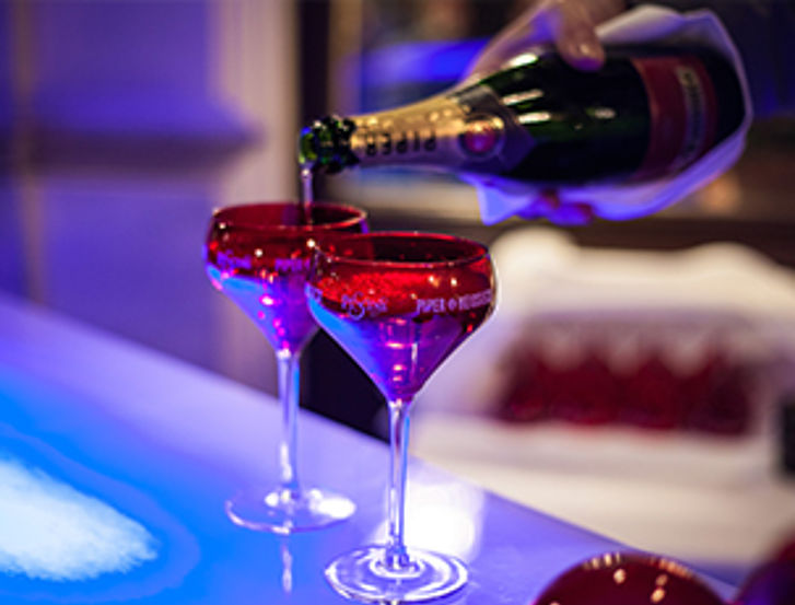 Enjoy champagne and oysters at our icebar