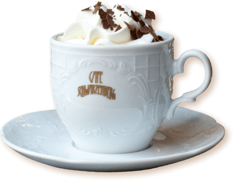 Our house cappuccino is prepared with whipped cream and chocolate flakes.